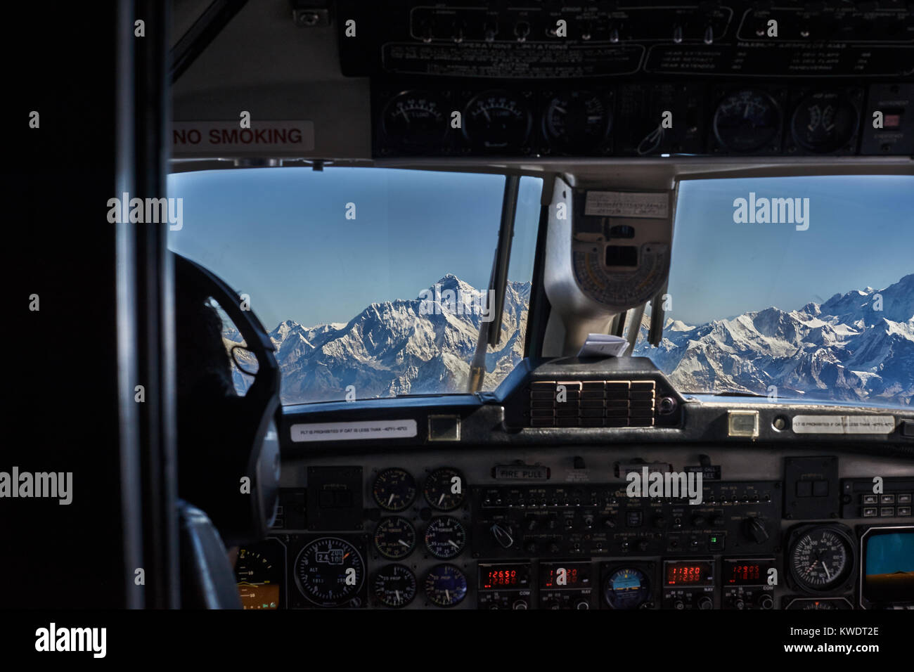 Everest view from airplane cockpit, Nepal - Stock Image