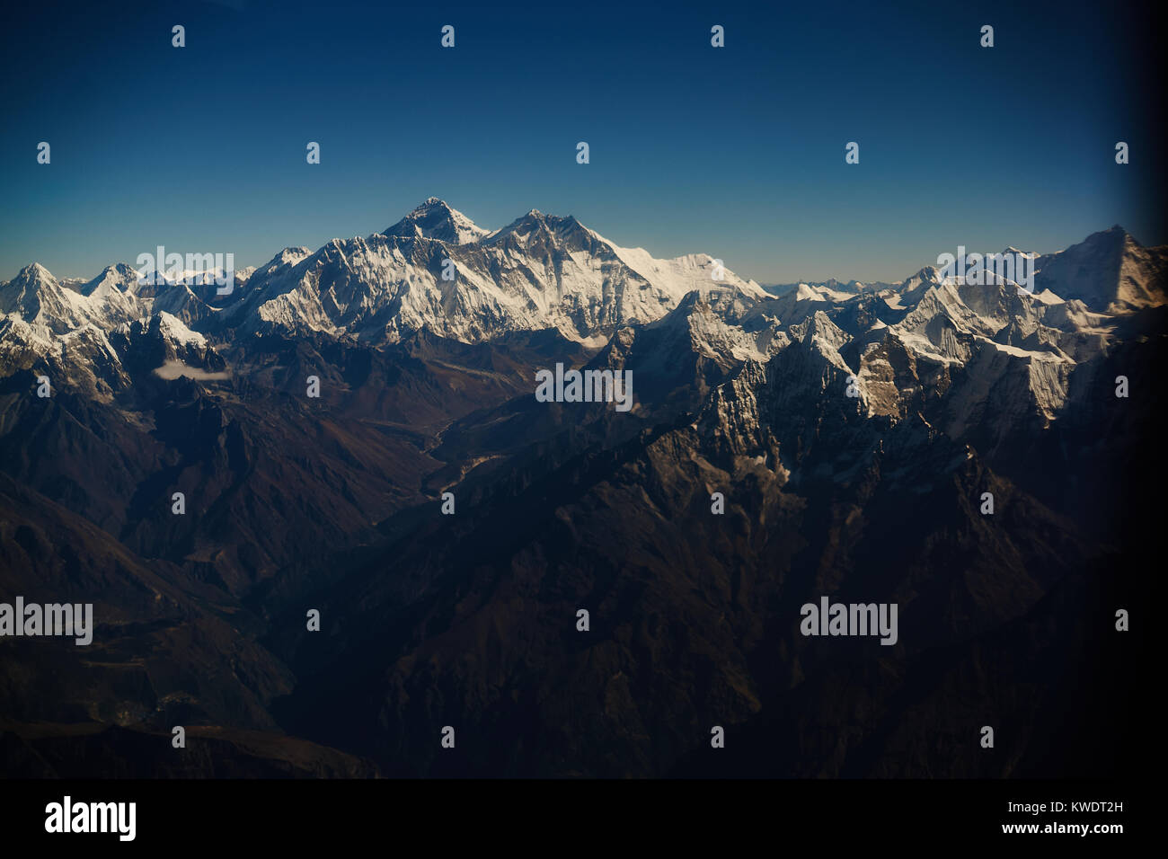 Everest view from plane, Nepal - Stock Image