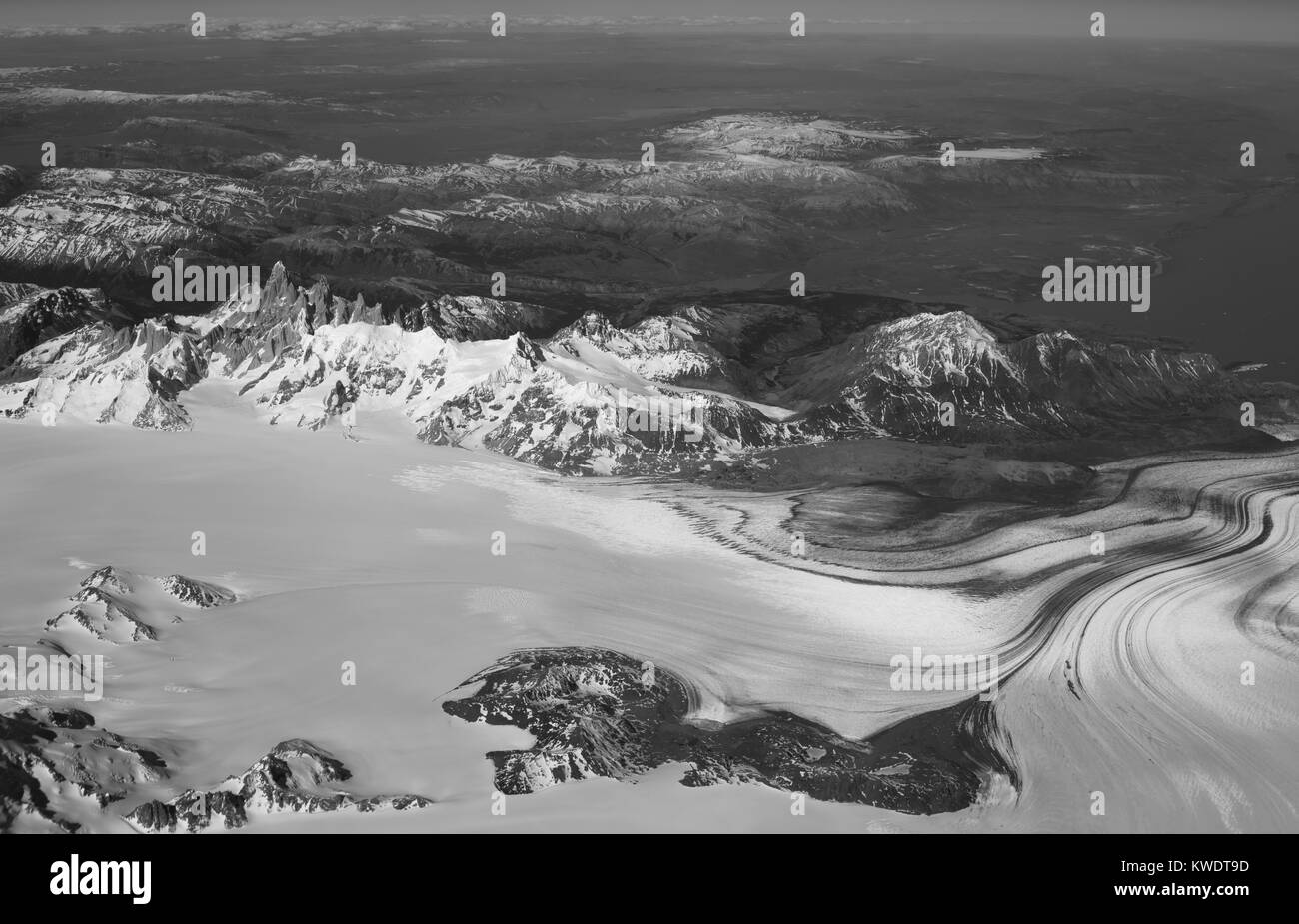 Aerial view of Mt. FitzRoy (El Chalten) and the Patagonian Icefield, taken from a commercial airplane over the Argentinian - Stock Image