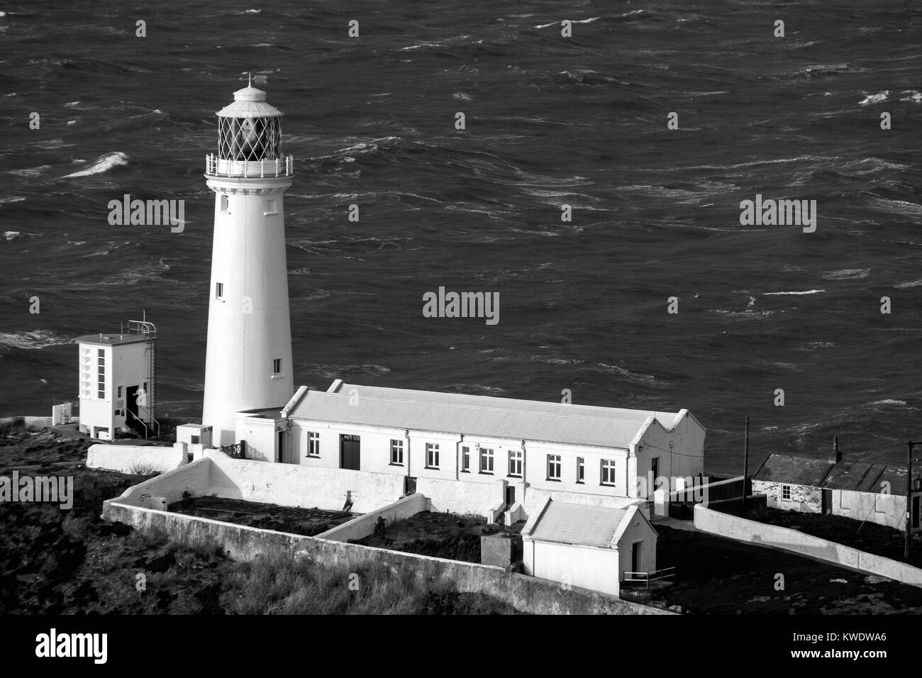 South Stack Lighthouse and Cliffs Holyhead Anglesey North Wales Uk - Stock Image