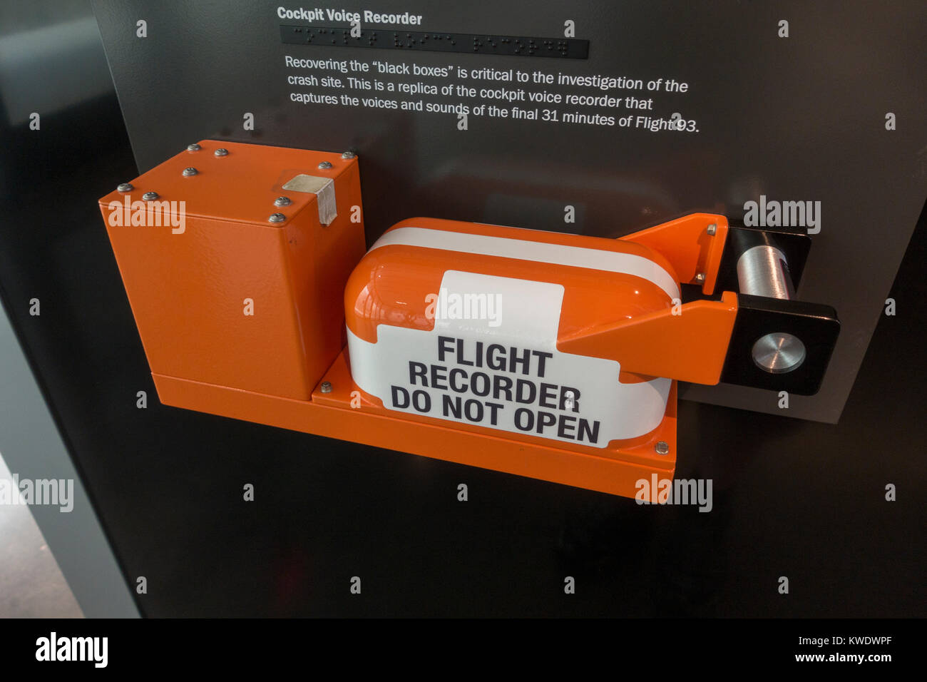 Replica cockpit voice recorder ('black box') on display in the Flight 93 National Memorial Site Visitor - Stock Image