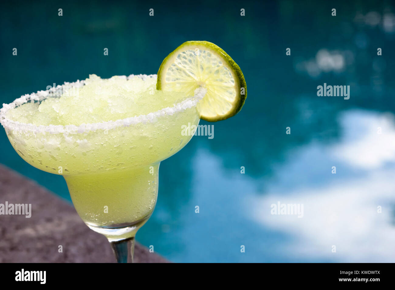 Frozen Marguerita with Garnish Poolside - Stock Image