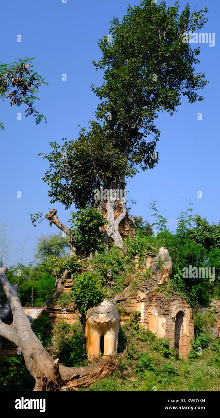 Pagoda in Inle Lake region in Myanmar - Stock Image