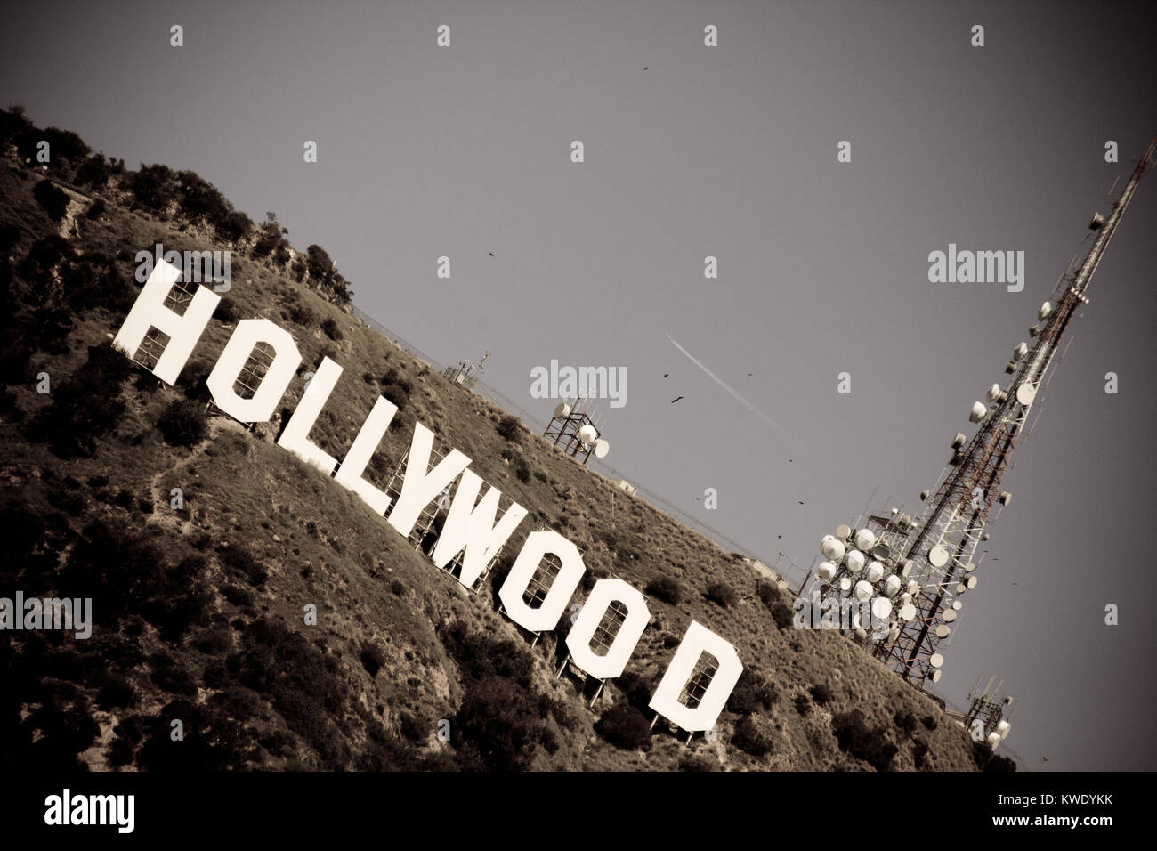 The Hollywood sign overlooking Los Angeles. The iconic sign was originally created in 1923. - Stock Image