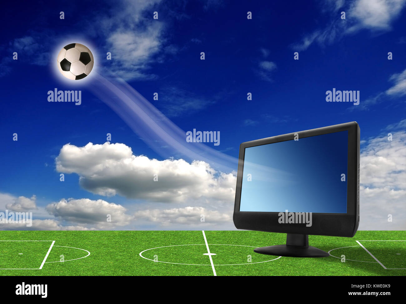 conceptual illustration of soccer television broadcasting - Stock Image