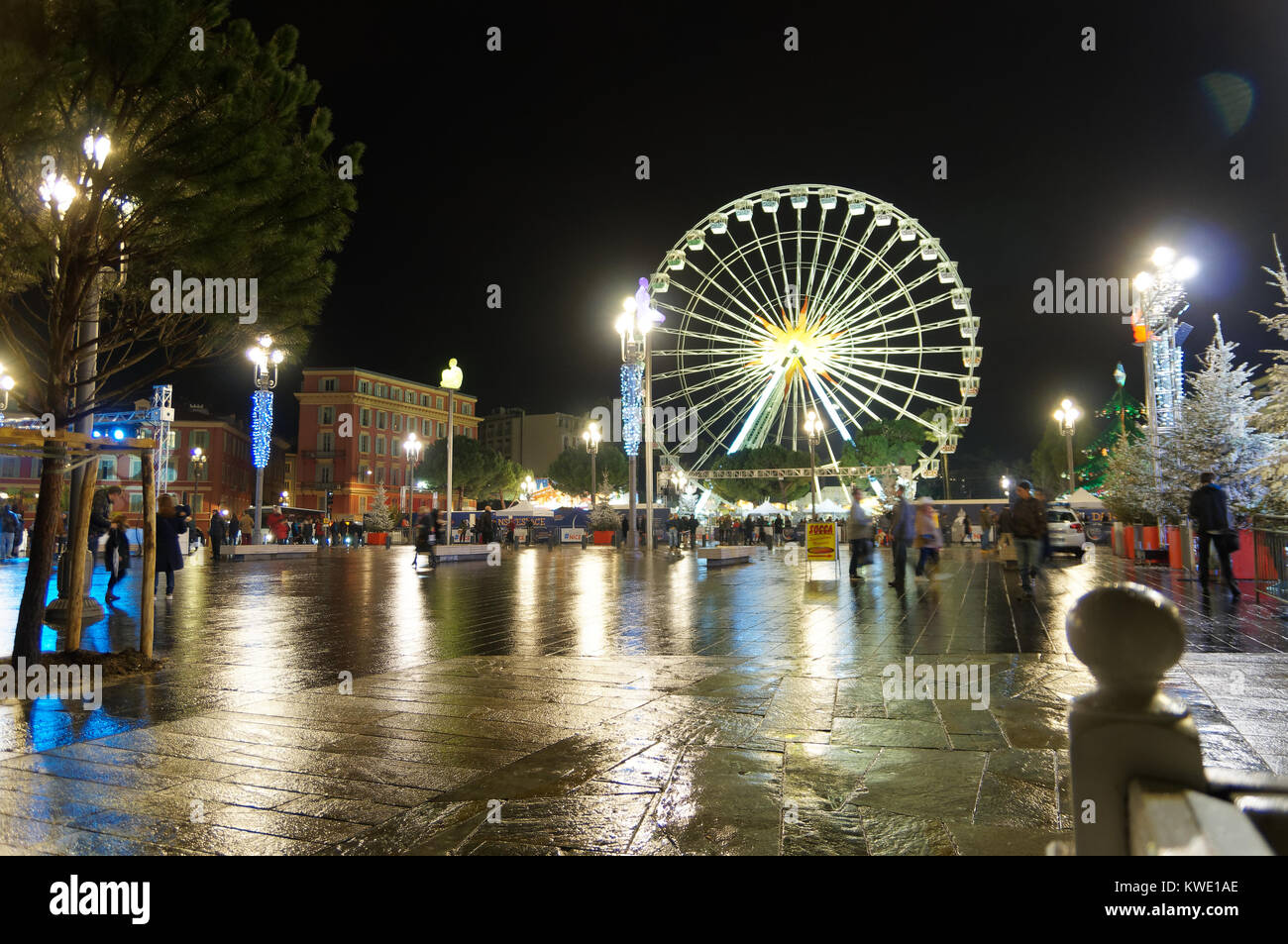 Ferris wheel in Nice, french riviera, at night during Christmas time - Stock Image