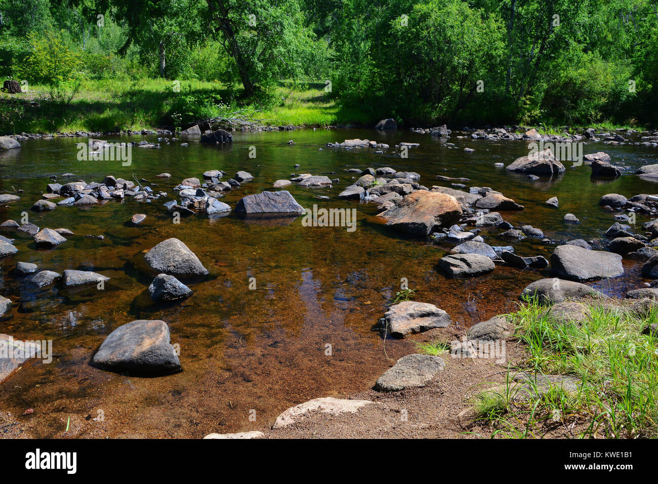 River bottom with stones in transparent water - Stock Image