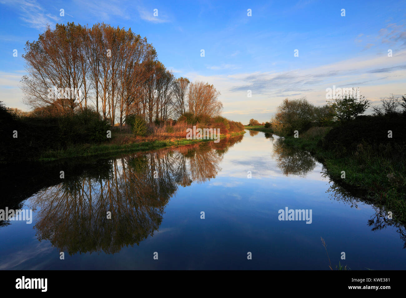Autumn, River Welland, Peakirk village, Cambridgeshire, England, UK - Stock Image