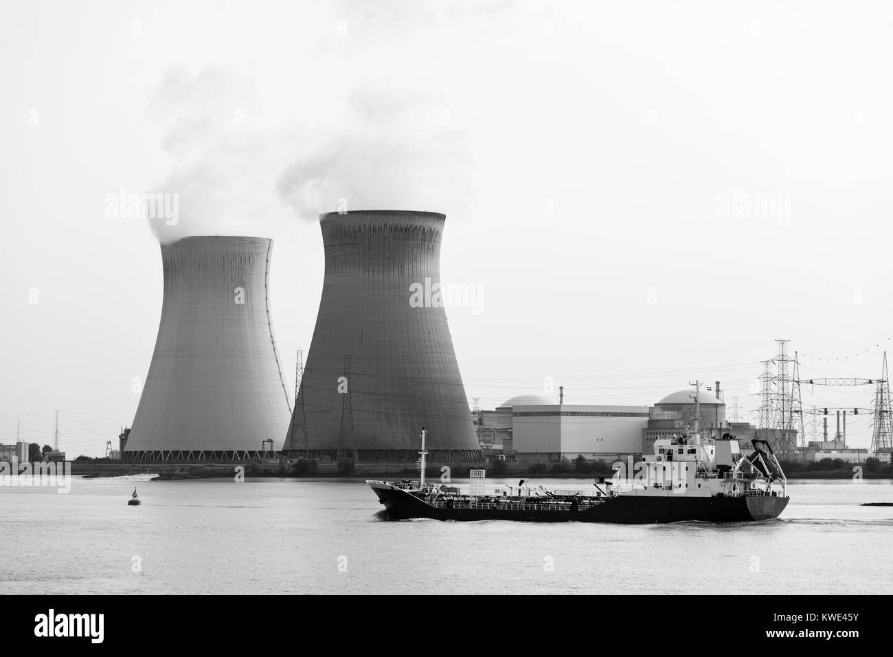Nuclear power plant Doel in Belgium in black and white. - Stock Image