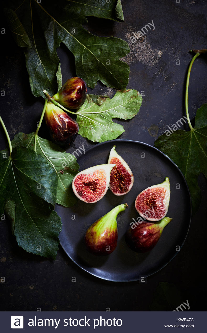 Overhead view of figs in plate on table - Stock Image