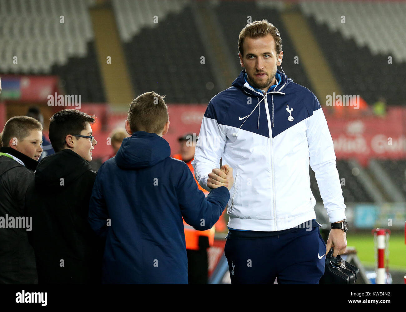 Tottenham Hotspur S Harry Kane Shakes A Young Fans Hand Before The Premier League Match At The Liberty Stadium Swansea Stock Photo Alamy