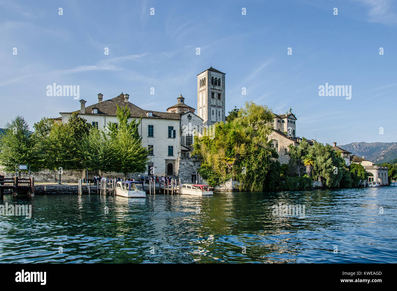 Lake Orta is one the most beautiful of the Italian lakes. Isola San Giulio or San Giulio Island is an island within - Stock Image