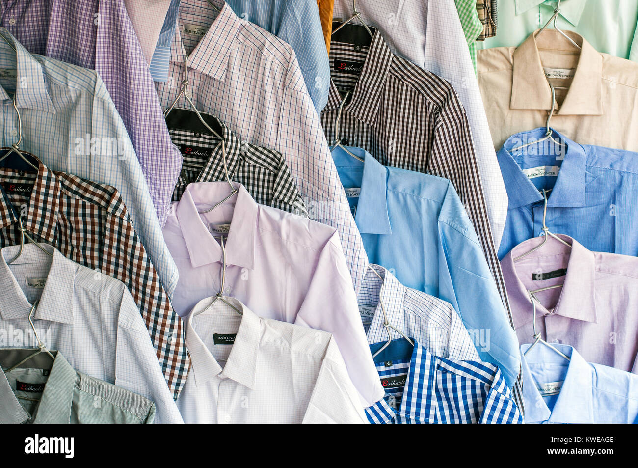 Men S Shirts Display Outside Menswear Outlet William Street Stock Photo Alamy