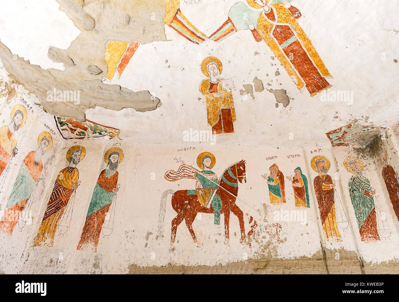Fresco in the interior of the rock-hewn church Daniel Qorqor, Gheralta region, Tigray, Ethiopia - Stock Image