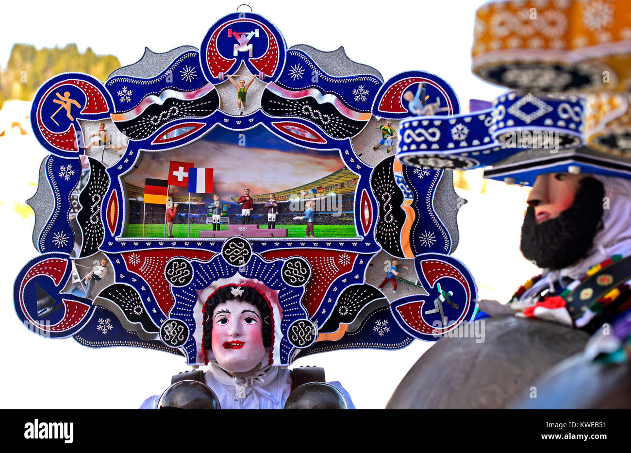 A Beautiful Chlaus with ornate embroidered headgear, St Sylvester mummers, Old Sylvester, Urnäsch, Canton Appenzell - Stock Image