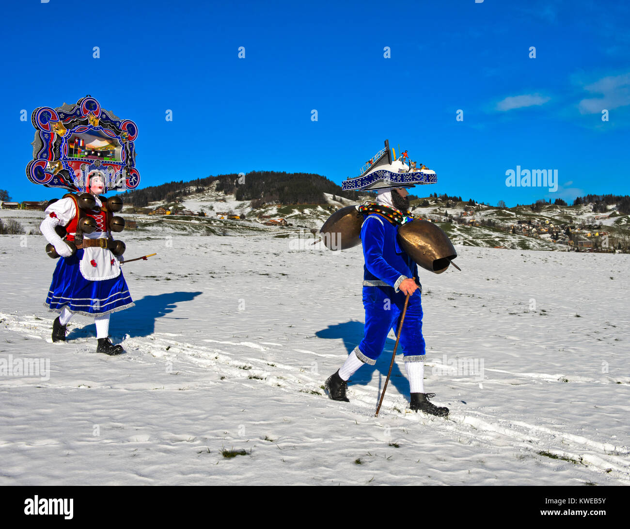 A Beautiful Chlaus and Schellenklaus, St Sylvester mummers, at Old Sylvester, Urnäsch, Appenzell Ausserrhoden, - Stock Image