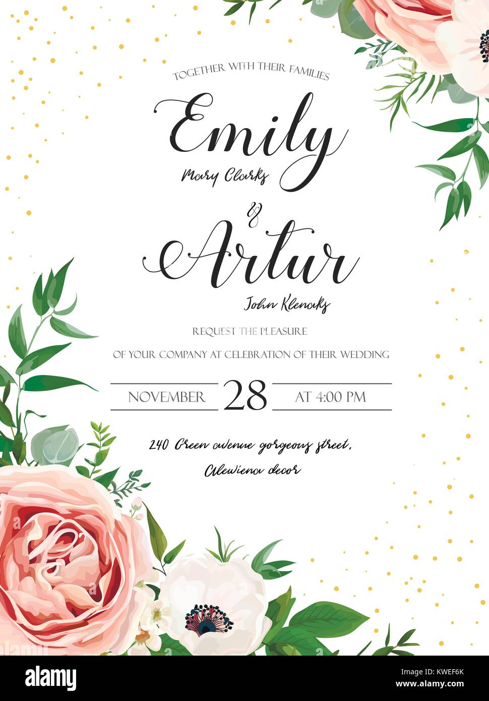 Wedding floral invite invitation card design: Rose pink lavender flower, white anemones, wax, Eucalyptus branch - Stock Vector