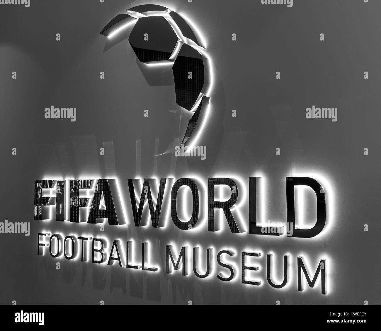 At the entrance to the official FIFA museum in Zurich, Switzerland - Stock Image