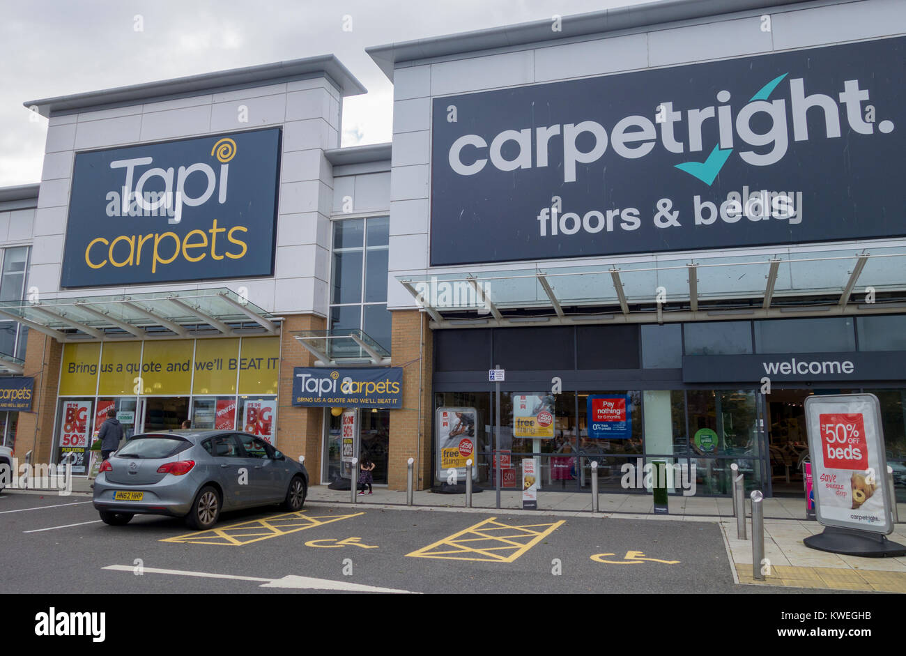 Tapi Carpets and Carpetright Stores next to each other, Ocean Retail Park, Portsmouth, UK - Stock Image