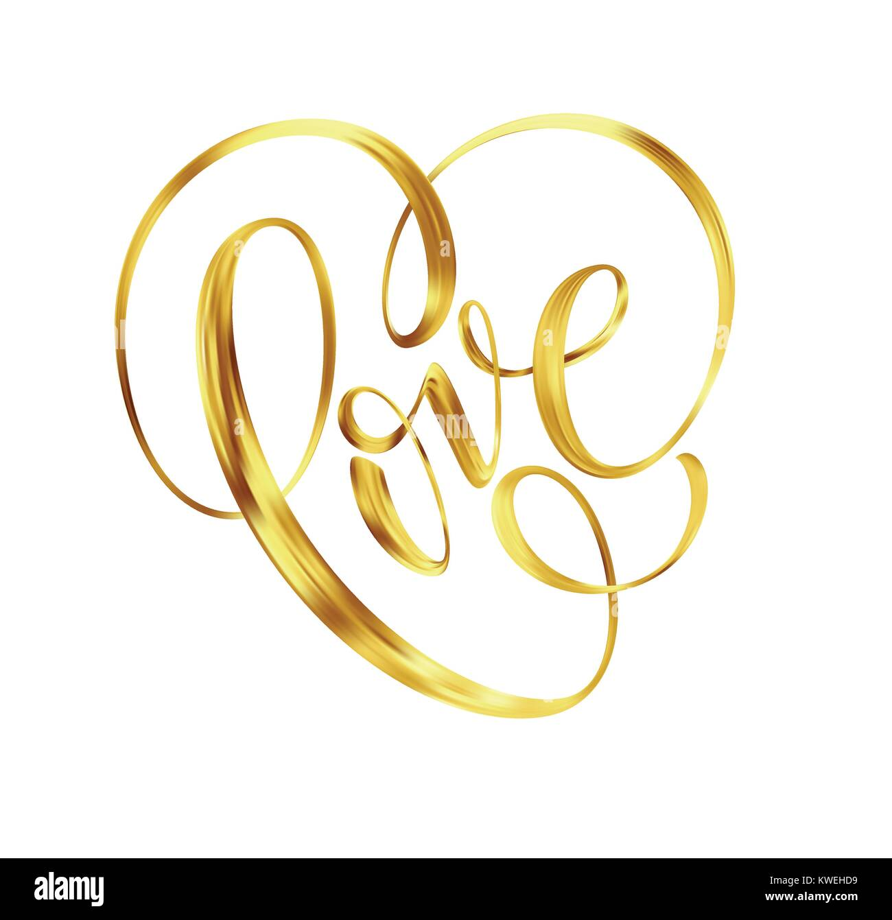 Love gold lettering text on background, hand painted letter, golden valentines day handwritten calligraphy for greeting - Stock Image
