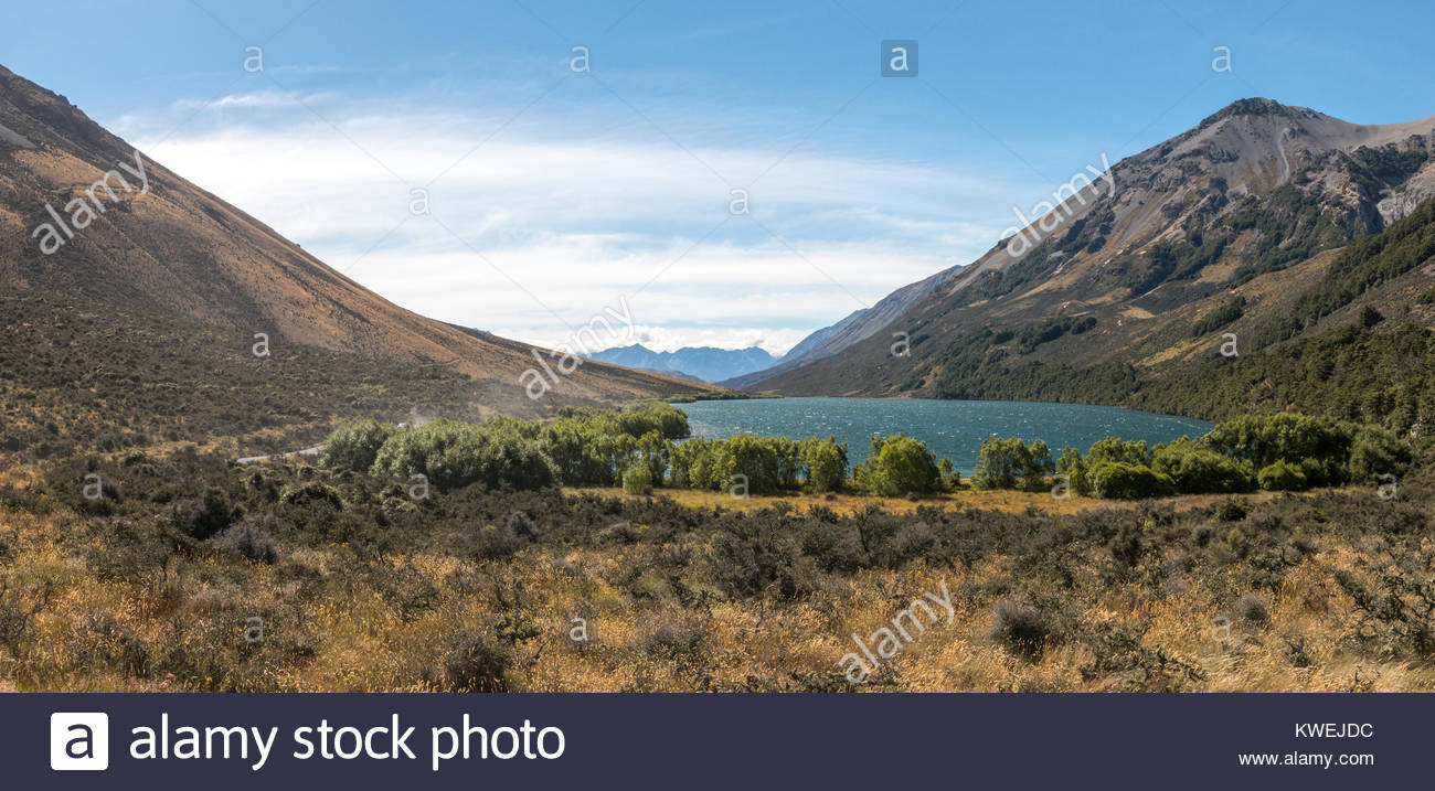 View to Lake Selfe, Canterbury, New Zealand - Stock Image