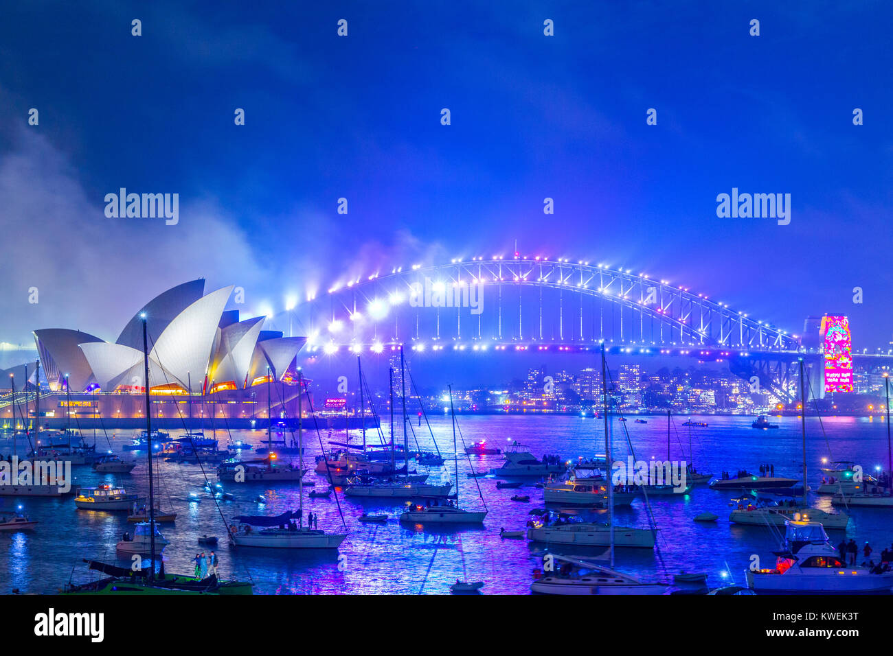 Australia celebrates the arrival of 2018 with New Years Eve fireworks on Sydney Harbour. The popular annual event - Stock Image