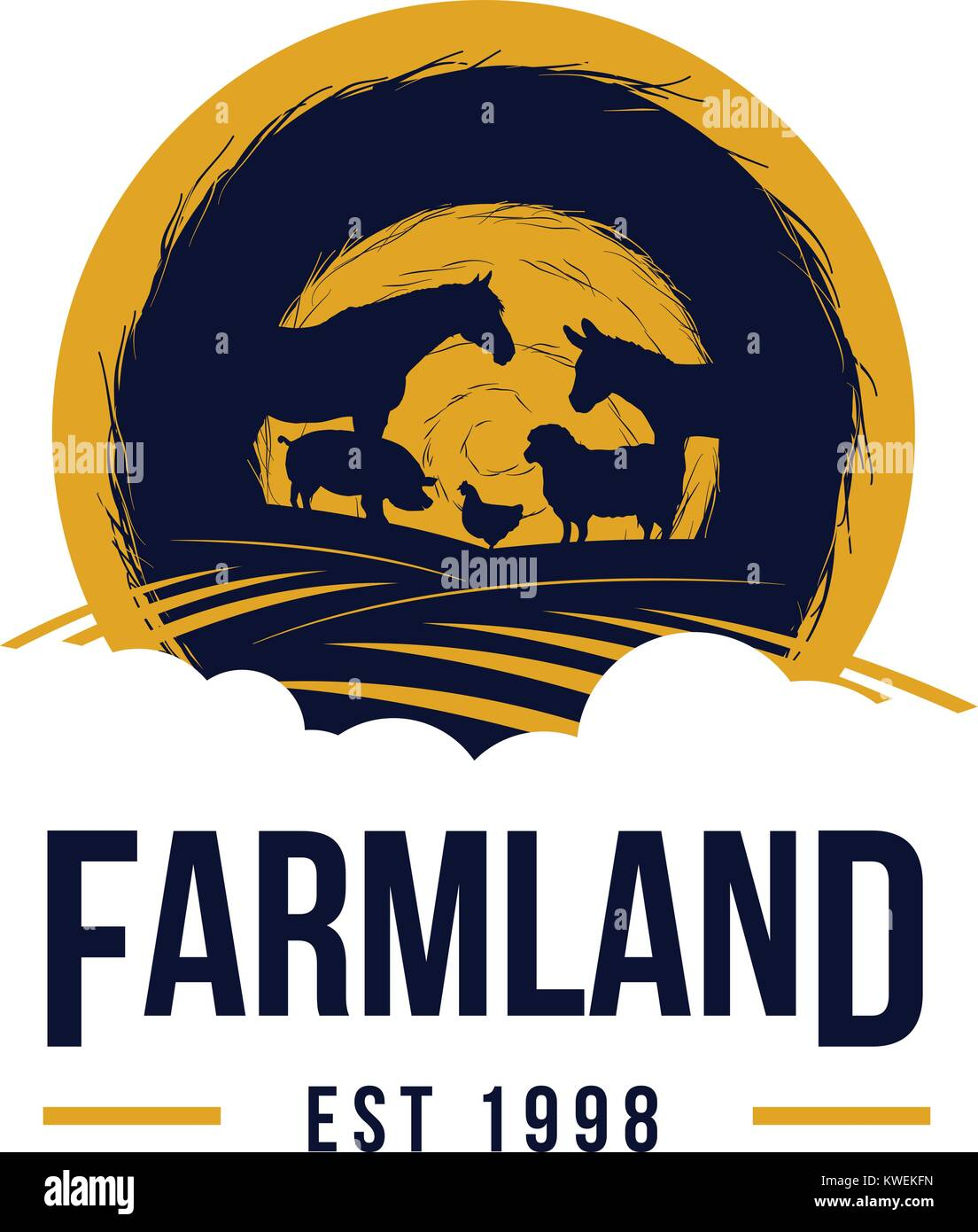Livestock Farm Land Logo with silhouette of animals, horse, pig, donkey, sheep, chicken - Stock Image
