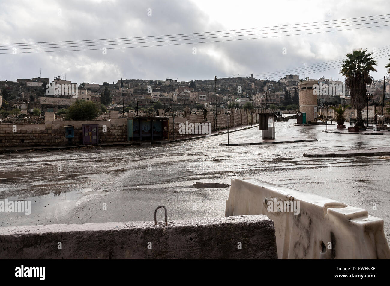 Hebron, Palestine, January 8 2011: Abandoned Shuhada street in Hebron and Israeli check point. It used to be a main - Stock Image