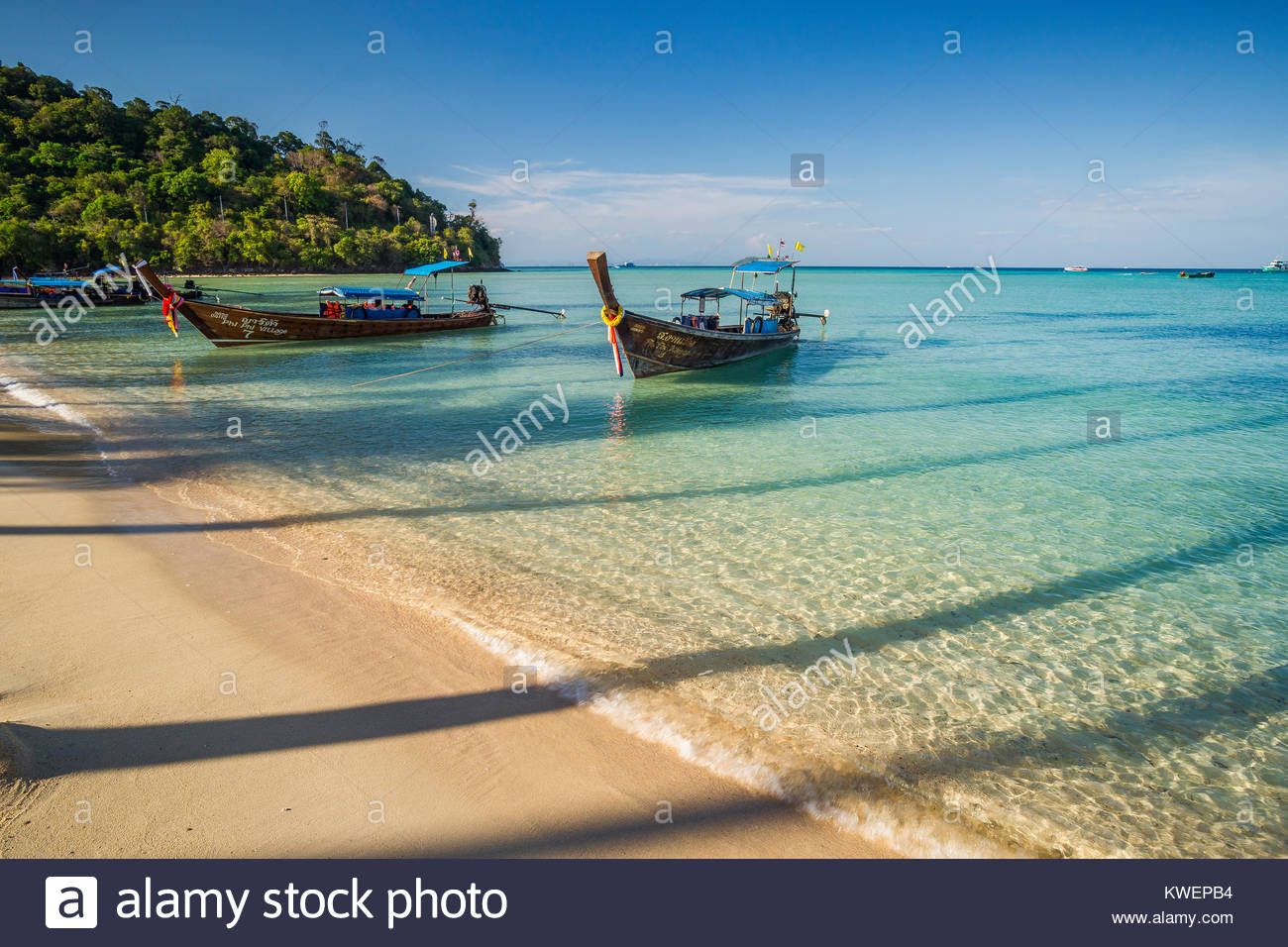 Long tail boats and the shadow of palm trees in Loh Bagao Bay - Koh Phi Phi Don - Thailand Stock Photo