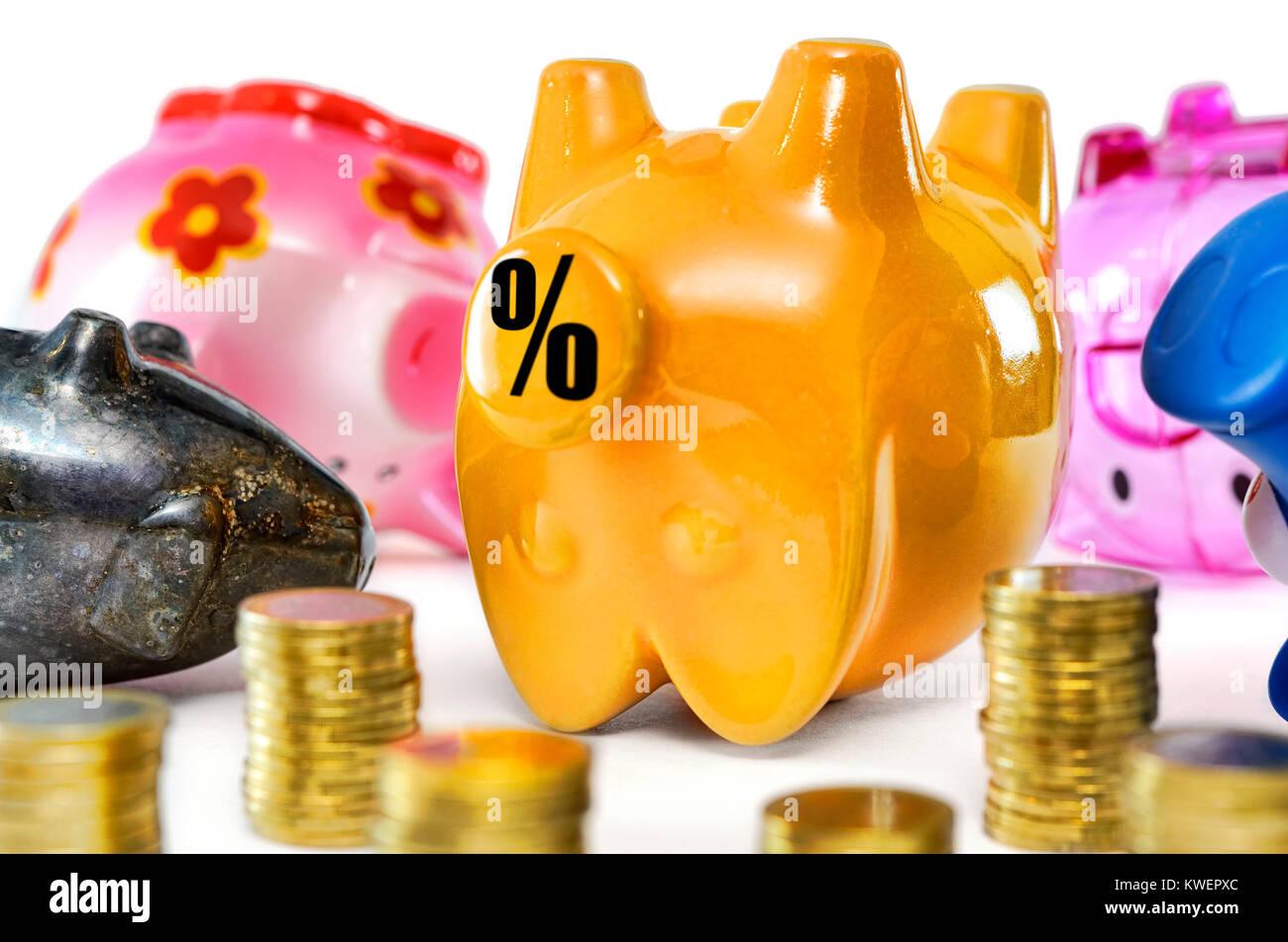 Dead piggy banks, symbolic photo negative interest, Tote Sparschweine, Symbolfoto Negativzinsen Stock Photo