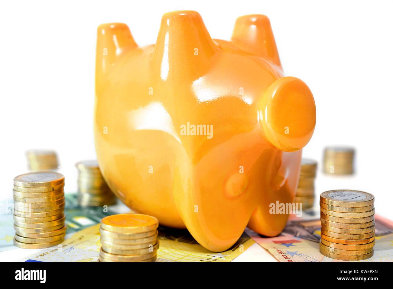Dead piggy bank, symbolic photo negative interest, Totes Sparschwein, Symbolfoto Negativzinsen Stock Photo