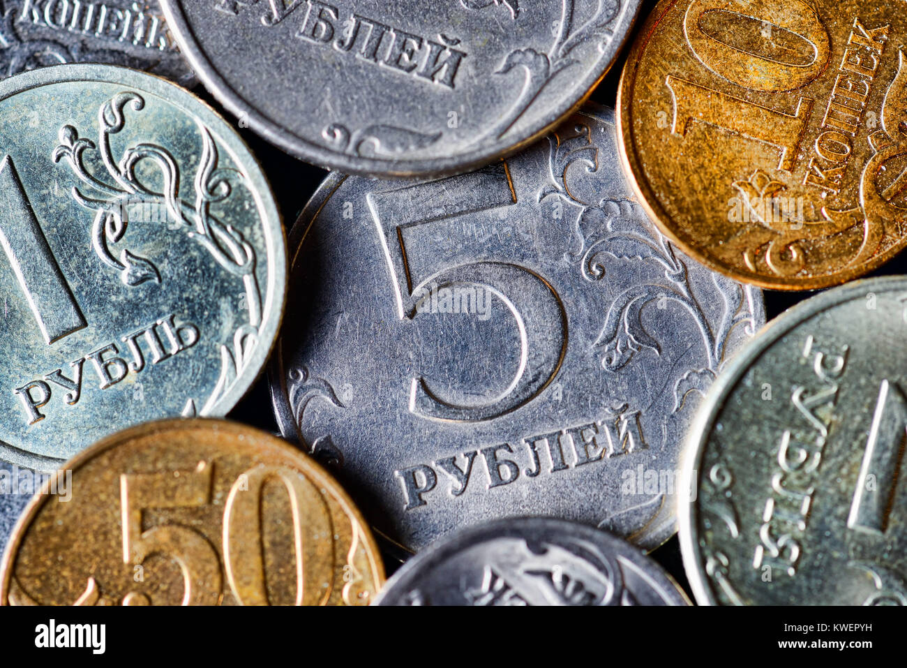 Russian roubles and kopecks, Russische Rubel und Kopeken - Stock Image