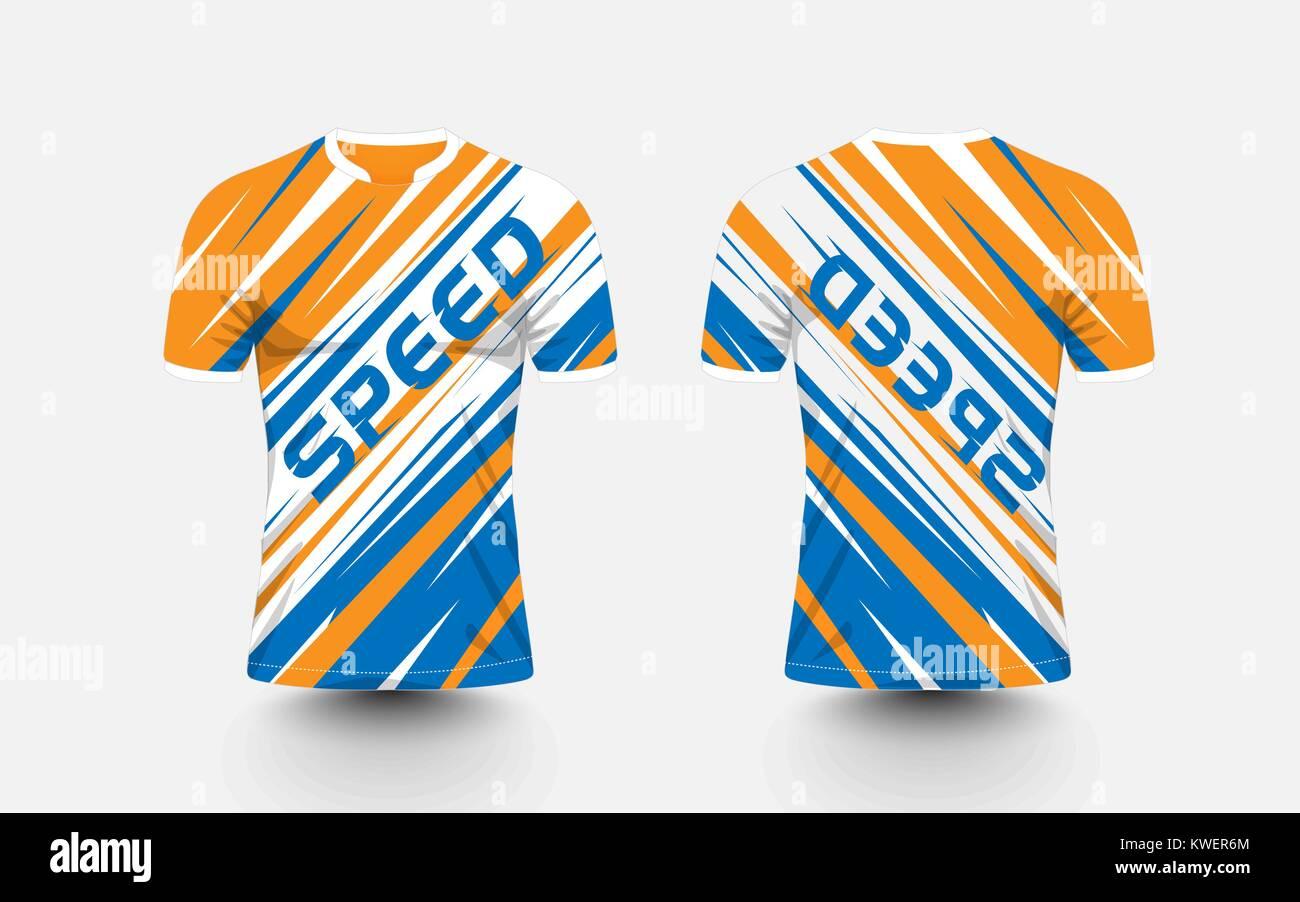 a053e1e8 Orange, White and blue stripe pattern sport football kits, jersey, t-shirt  design template