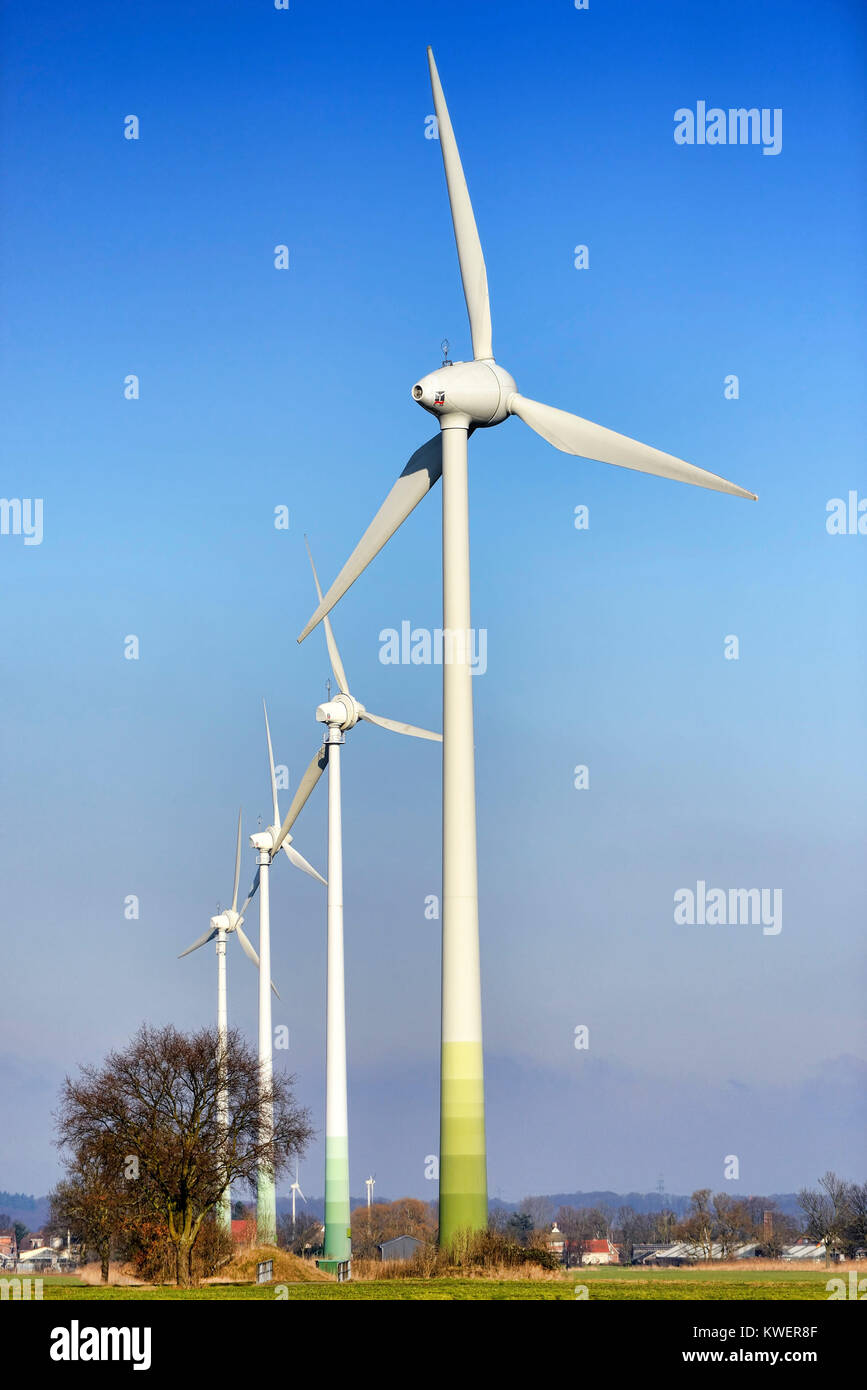 Wind turbines in the wind park new narrow nurse, 4 and marshy land, Hamburg, Germany, Europe, Windraeder im Windpark - Stock Image