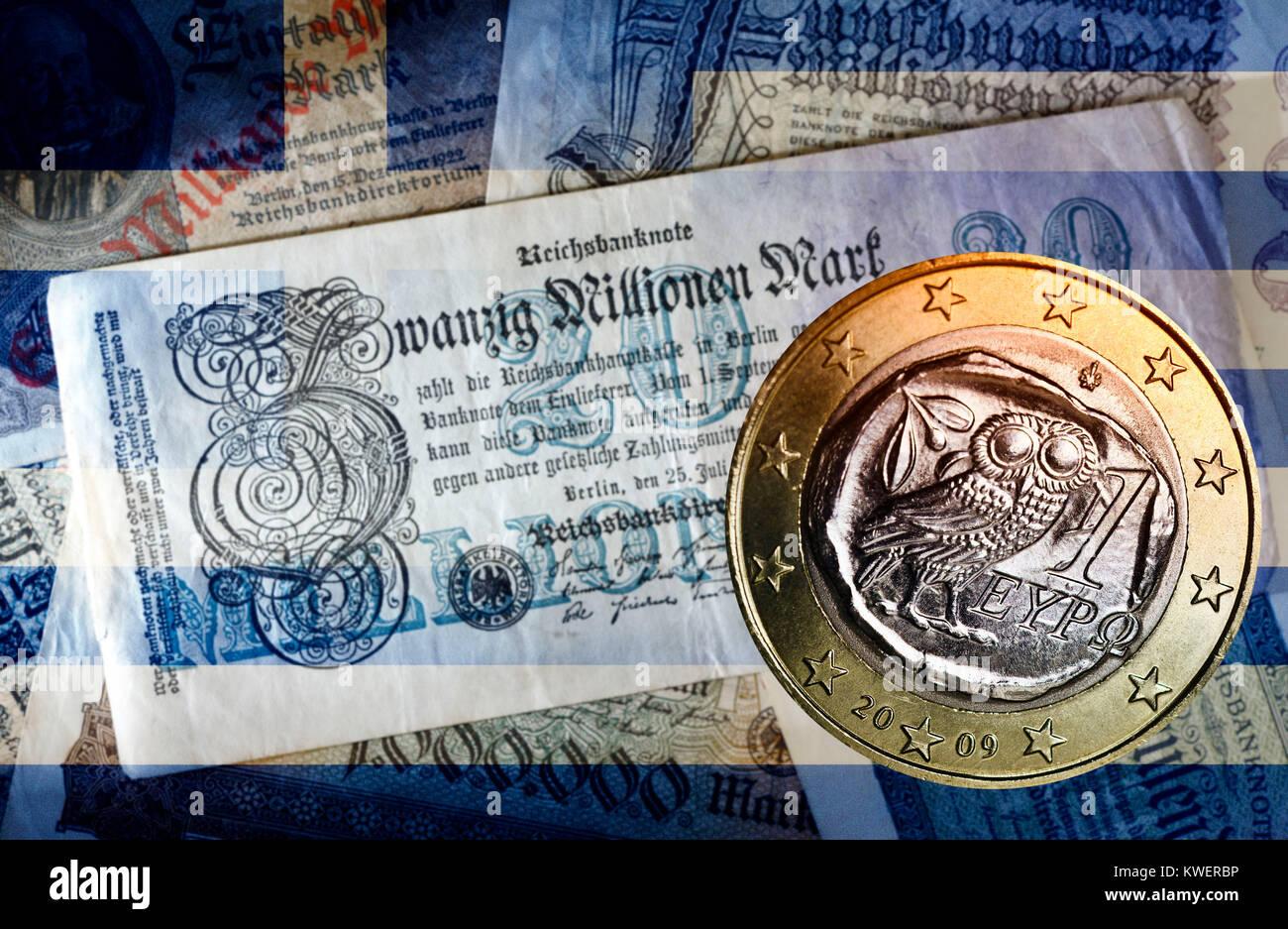 Old German inflation bank notes and Greek euro, Greek Reparationsforderungen, Alte deutsche Inflations-Geldscheine Stock Photo