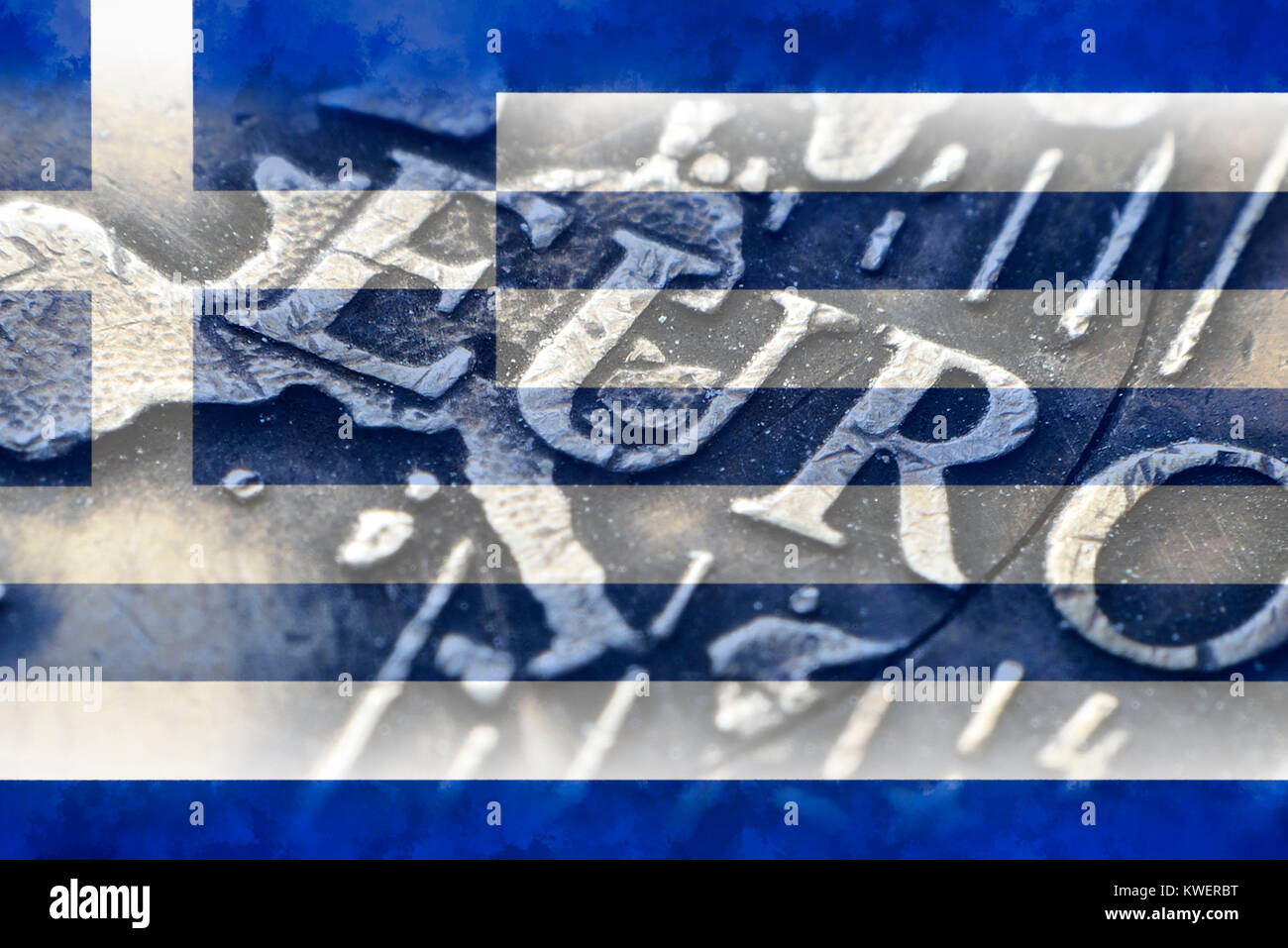 Eurocoin and flag of Greece, Greek Reparationsforderungen, Euromuenze und Fahne von Griechenland, griechische Reparationsforderungen Stock Photo