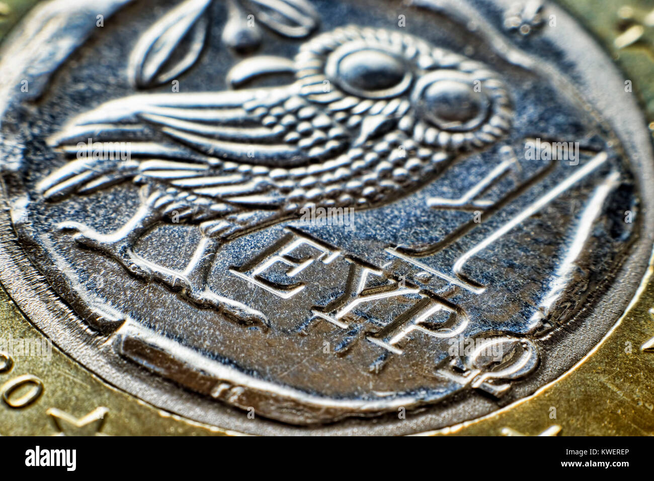 Greek euro-coin one, Griechische Ein-Euro-Muenze - Stock Image