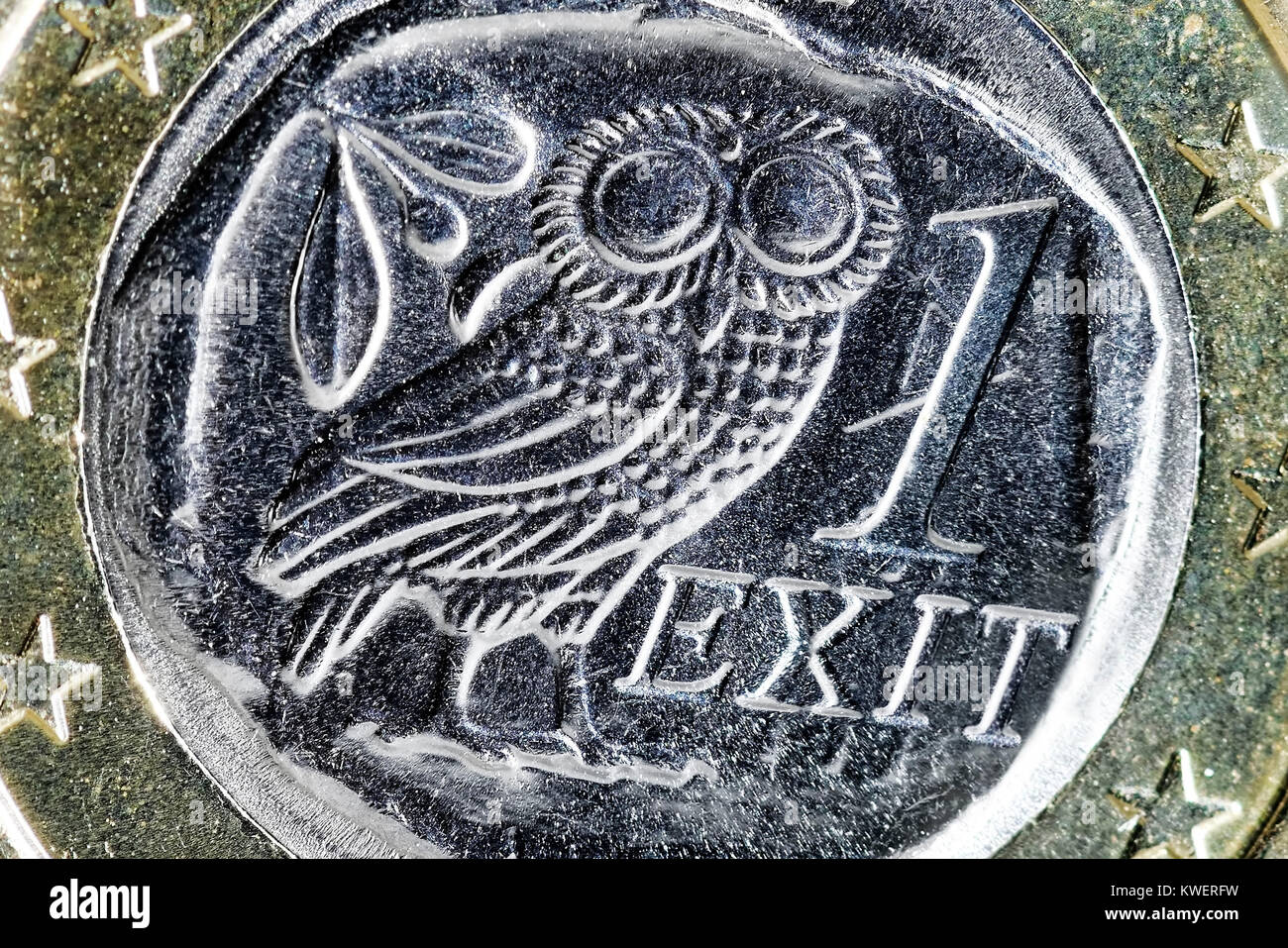 Greek euro-coin one and Exit stroke, Grexit, Griechische Ein-Euro-Muenze und Exit-Schriftzug - Stock Image