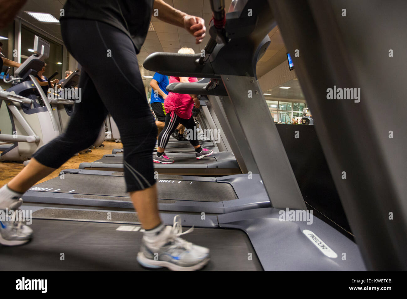 Exercise at the gym, Sollentuna, Sweden. - Stock Image
