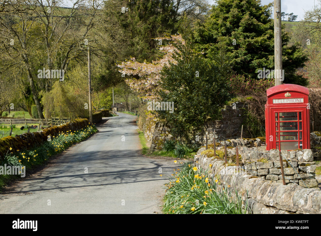 Red telephone box on a country road in a small village called Wath,Pateley Bridge,North Yorkshire,England,UK. - Stock Image