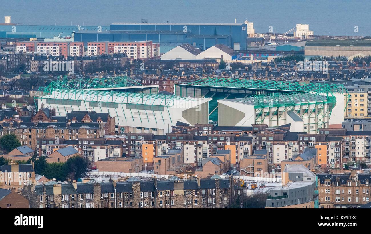 View of Easter Road Stadium home of Hibernian Football Club in Edinburgh, Scotland, United Kingdom Stock Photo
