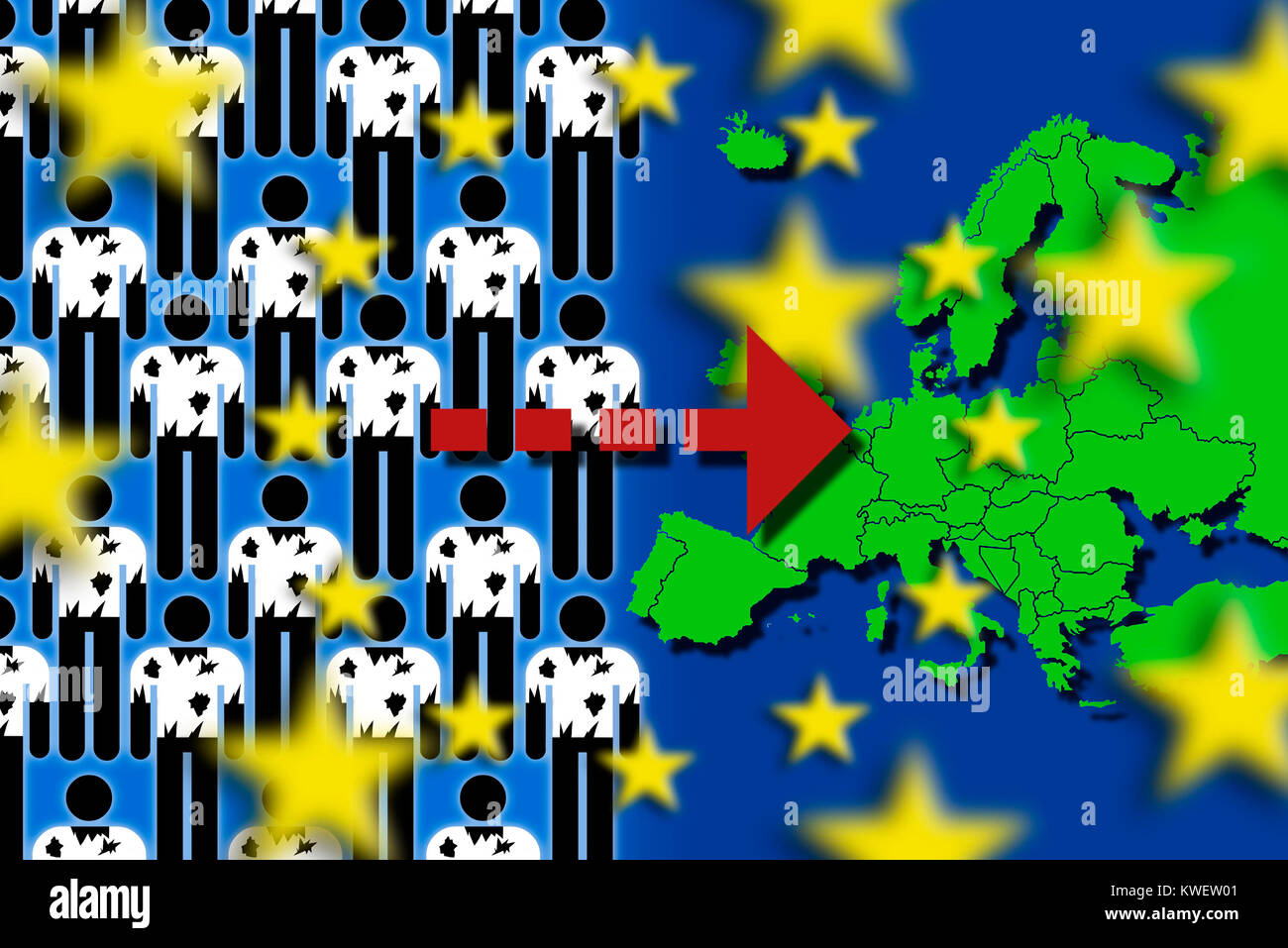 Refugees and European map, symbolic photo refugee's stream to Europe, Flüchtlinge und Europakarte, Symbolfoto - Stock Image