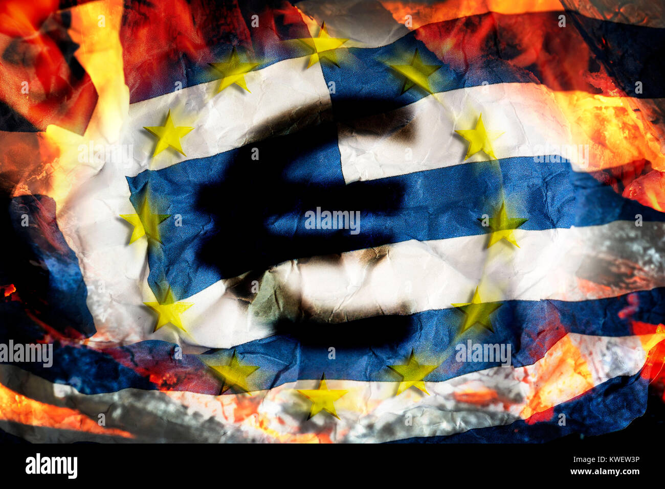 Greek flag with flames and eurosigns, symbolic photo debt quarrel, Griechische Fahne mit Flammen und Eurozeichen, - Stock Image