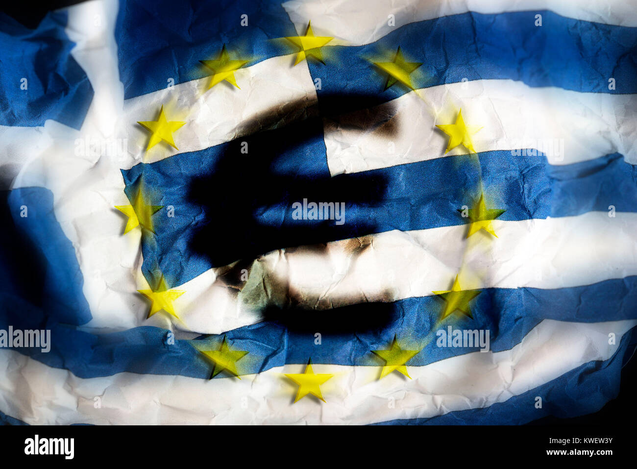 Crumpled Greek flag with eurosign, symbolic photo debt quarrel, Zerknitterte Griechische Fahne mit Eurozeichen, Stock Photo
