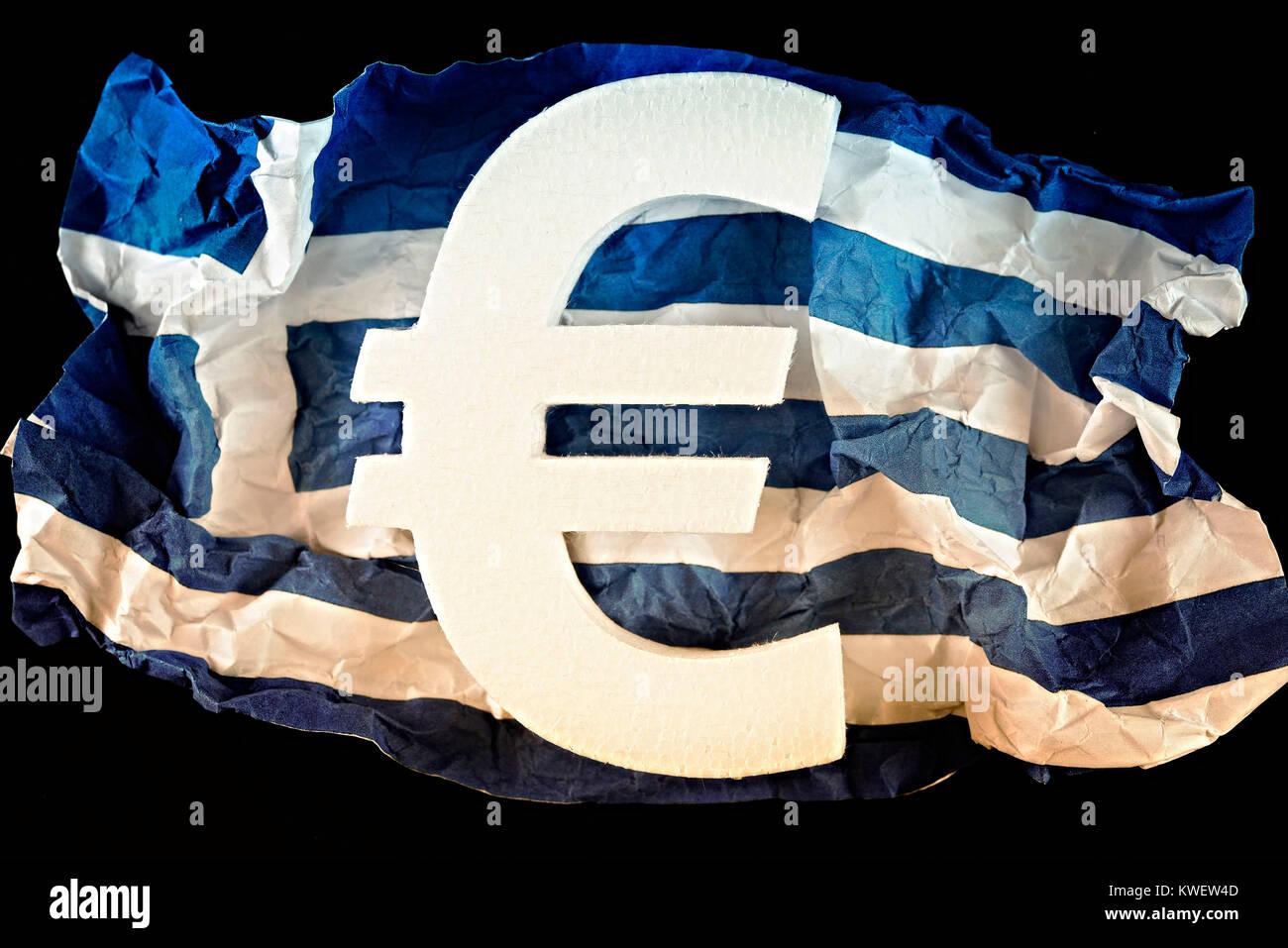 Greek flag with eurosign, symbolic photo debt quarrel, Griechische Fahne mit Eurozeichen, Symbolfoto Schuldenstreit Stock Photo