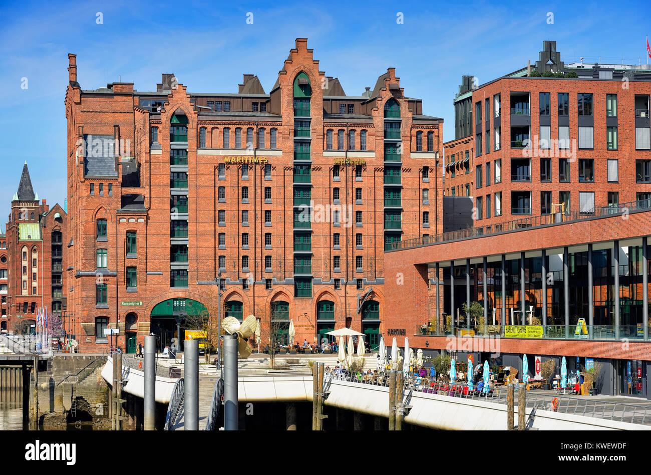 International maritime museum and Elbarkaden in the harbour city of Hamburg, Germany, Europe, Internationales Maritimes - Stock Image