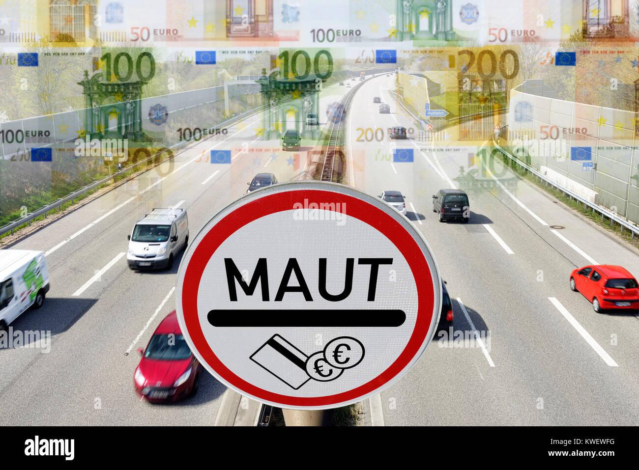 Highway, toll sign and bank notes, symbolic photo passenger car toll, Autobahn, Maut-Schild und Geldscheine, Symbolfoto Stock Photo