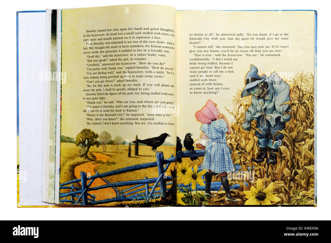 Dorothy meets the Scarecrow in an Illustrated book of The Wizard of Oz - Stock Image