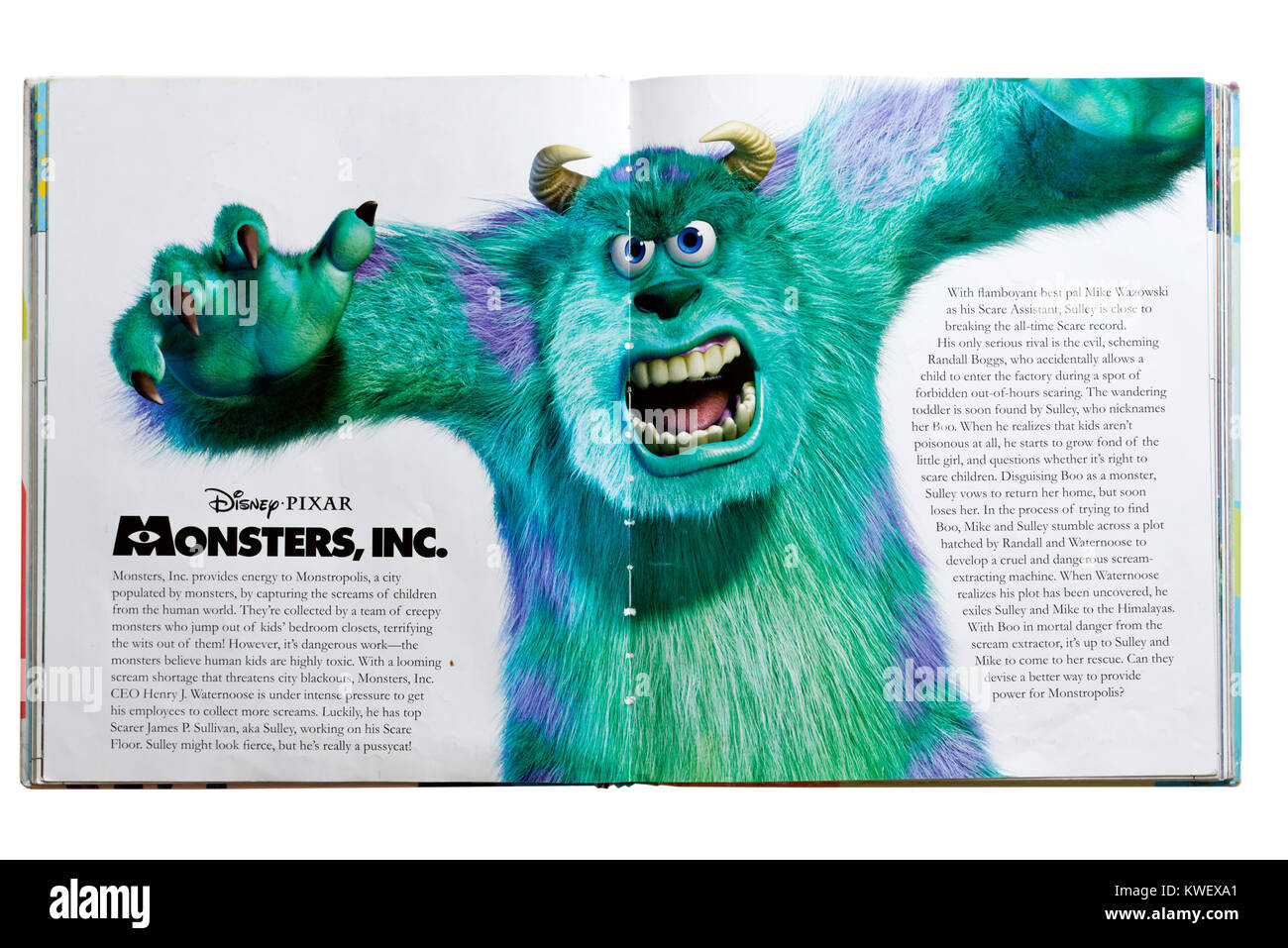 Pixar character Sulley from the film Monsters Inc. in a Pixar Character Guide - Stock Image