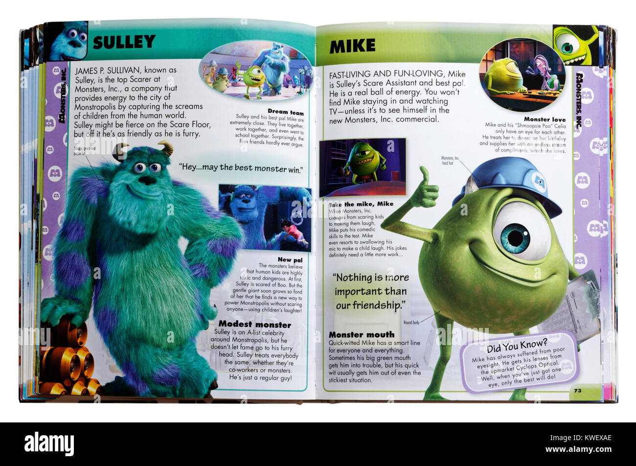 Pixar character Sulley and Mike from the film Monsters Inc.  in an Pixar Character Guide - Stock Image